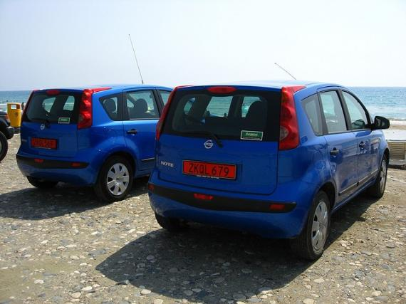 'Two Blue Nissan Notes - Kourion Beach, Kourion, Cyprus' - Cyprus